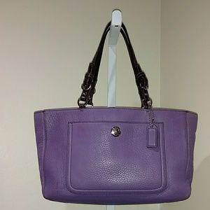 COACH PURPLE PEBBLED LEATHER TOTE BAG